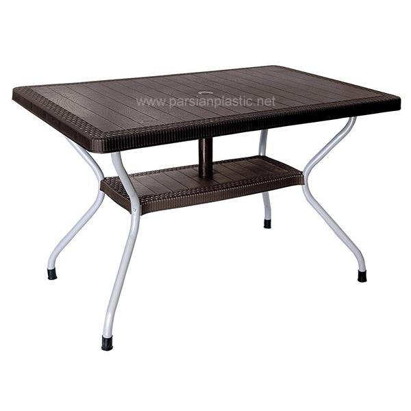 میز مستطیل حصیری پایه فلزی ناصر