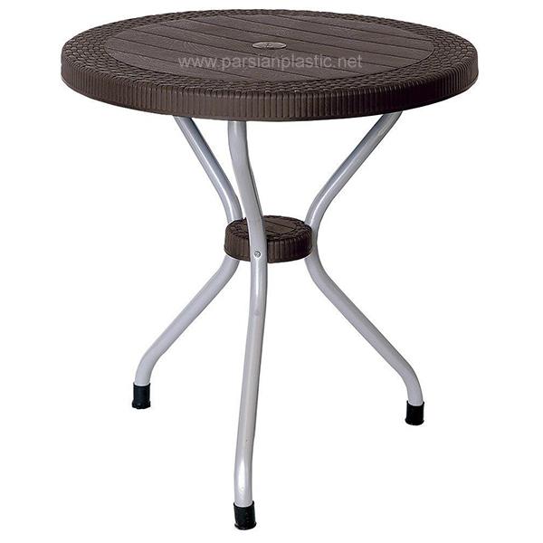 میز گرد حصیر بافت پایه فلزی ناصر پلاستیک