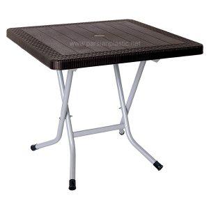 میز مربع حصیر بافت تاشو پایه فلزی ناصر