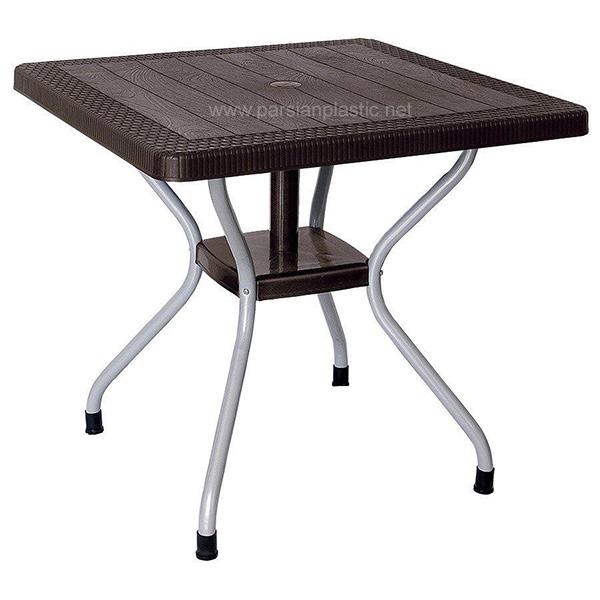 میز مربعی حصیری پایه فلزی ناصر